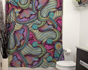 Mermaid Seashells Printed Shower Curtain, Bathroom Decor, Purple and Pink Home Decor, Nautical Art, Seashell Pattern, Art Deco, Abstract Art