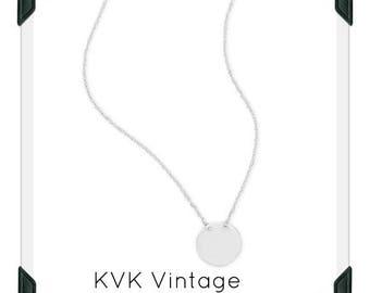 Polished Round Engravable Disk Necklace