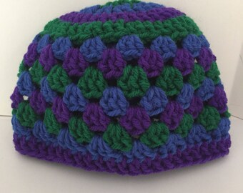 Hand crocheted purple, green and blue baby beanie- 6 to 12 months.
