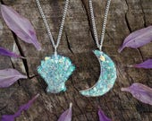 Iridescent Rainbow Aura Glitter Flake Resin Moon & Shell Necklace