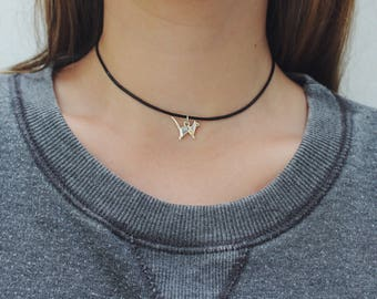 Origami Dainty Silver Cat Adjustable Leather Choker