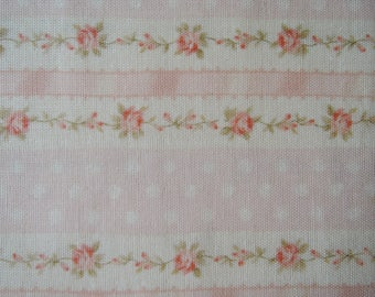 "Last 1/2 Yard of (Double Gauze) Roses Stripes Dots on Cream and Pink Background by Cosmo Textiles. Approx. 18"" x 44. Made in Japan."