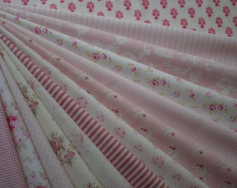 "Bundle of 1/8 Tone Finnanger Tilda Quilt Collection Beautiful Pink Set. Approx. 9"" x 22"""