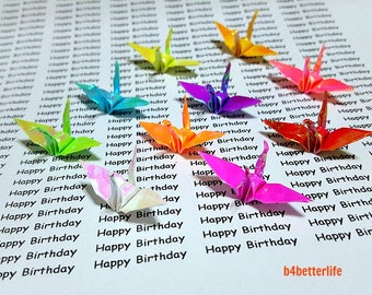 "30pcs Assorted Colors 1.5"" Origami Cranes Hand-folded From 1.5""x1.5"" Square Paper. (AV paper series). #FC15-34t."