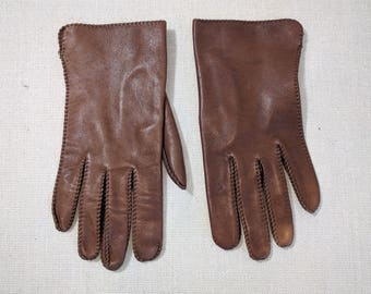 Ladies vintage leather driving gloves / hand stitched brown genuine leather gloves size 7 1/2