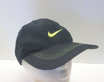 90s Nike Black/Yellow Swoosh check hat cap dad hat