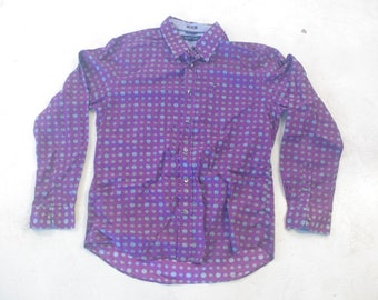 Tommy Hilfiger 90s 1990s long sleeve button up shirt purple size L