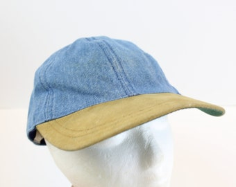 90s Denim leather bill jean blue hat cap strap jhats vintage