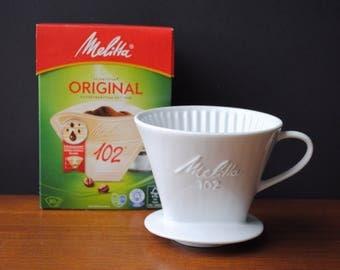 Vintage * 1960s 1970s German MELITTA Relief Coffee Filter No 102 * 1 hole * Porcelain * Steins * white * Mid Century Kitchen Utensil