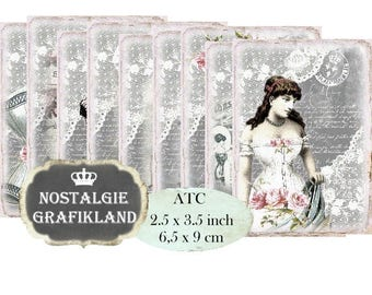 Corset Labels Shabby Chic French Fashion Mode Underwear Corsets printable Instant Download ATC digital collage sheet S122