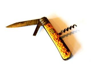 Vintage Carved Deer Antler Horn Pocket Knife / Camping Utility Knife / Boy Scout Pocket Knife / Vintage Wood Texture Handle Pocket Knife