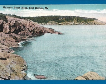 Vintage Postcard - The Rugged Hunters Beach, Acadia National Park, Seal Harbor Maine  (2703)