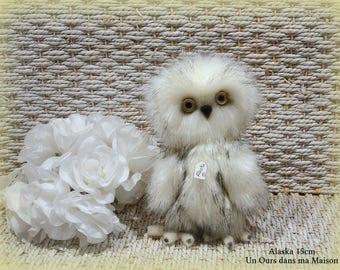 VENDUE *** !! Alaska chouette d'artiste miniature 15cm articulé fait main collection décoration ours miniature OOAK