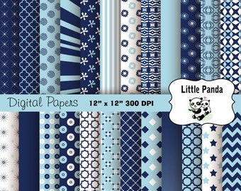 70% OFF SALE Light Blue and Navy Digital Scrapbook Paper Pack 24 jpg files 12 x 12  - Instant Download - D263