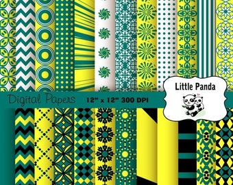 60% OFF SALE Pine Green and Daffodil Digital Scrapbooking Papers 24 jpg files 12 x 12 - Instant Download - D165