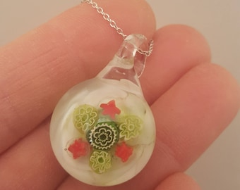 Red and green Christmas pendant, unique gift, cheerful jewellery, glass art