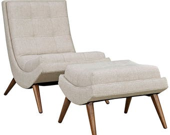 The Raj Upholstered Fabric Lounge Chair and Ottoman in Beige