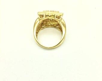 SUMMER  CLEARANCE SALE Antique Citron/Peridot Asscher Ring