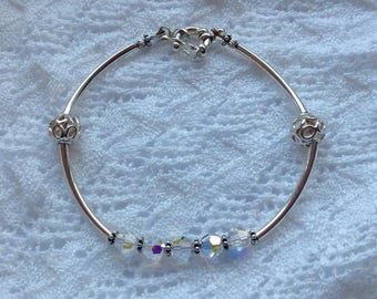 Swarovski sterling silver bracelet, swarovski bracelet, handmade bracelet, vintage bracelet, for her