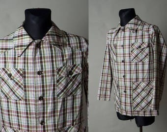 30% OFF Wool Vintage Checked Jacket / Colored plaid jacket / Classic Gentleman jacket / Classy look / Mens wool coat/ Size S/M