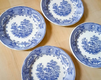 Blue vintage dessert plates set