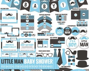 Blue Mustache Baby Shower Decorations - Printable Blue and Black Little Man Baby Shower Package - Baby Boy Shower Decor. Digital Download
