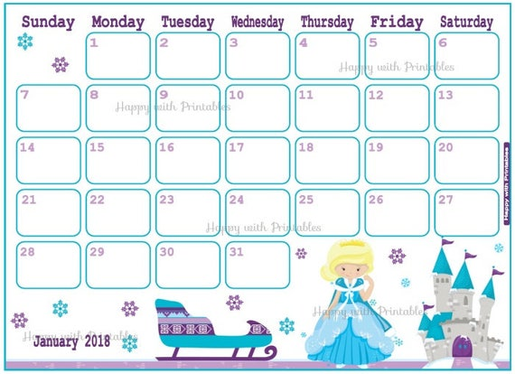 Calendar January 2018 Ice Princess Planner Printable Cute
