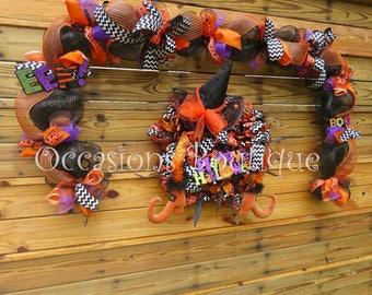 Halloween Wreath with Door Garland, Halloween Decoration, Door Hanger, Wreath with Matching Garland, Front door wreath, Wreath for door