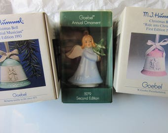 Hummel Christmas Bell Ornaments 1989 and 1993; 1979 Goebel Angel Ornament