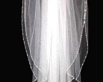 FREE SHIPPING, crystal edge veil, beaded wedding veil, crystal veil and blusher, crystal wedding veil, crystal bead veil, 2 tier veil