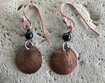 Women's round Earrings - black Onyx - long dangle - Handmade - beaded - copper Jewelry