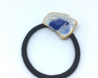 Ceramic hair elastic, eco friendly, ponytail , blue ceramic, ceramic hair accessory, sea blue pottery