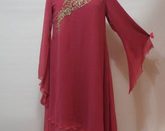 Ladies Long pink gold chiffon dress, and pants pakistan suit  size M