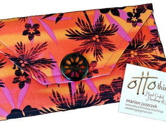 Orange and Black Palm Tree Summer Tri Fold Wallet ONE-OF-A-KIND!