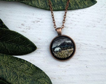 Necklace Hand Embroidered - Nighttime Field Cabin Farm Scene Mountain Landscape - Moody Stormy Cloudy Sky Mini Embroidery Tiny Art