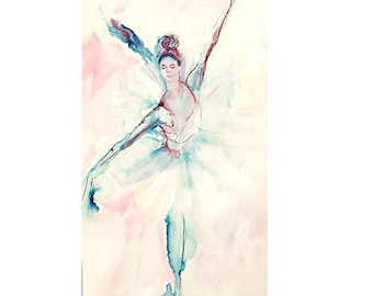 Ballet Dancer drawing-Abstract,blue expressive drawing-contemporary art print