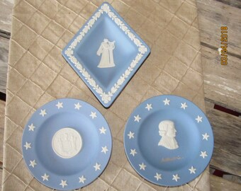 3 Vintage Wedgewood England Blue White Jasperware Vanity Trinket Dishes-New Jersey State Seal & Diamond Shaped Silhouette Woman with Harp