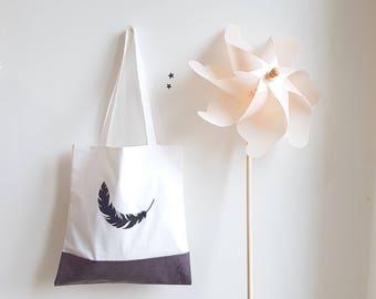 Sac rangement décor plume, tote bag doublé, plumes pailletée noire, Sac coton, blanc, lin enduit gris, accessoires femme, enfant, Sac école