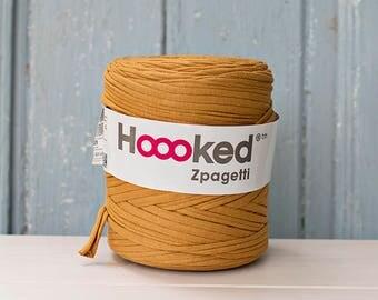 t-shirt yarn 135 yards, ecologic cotton, Zpagetti, Mustard, recycled yarn, cotton yarn, elastic yarn