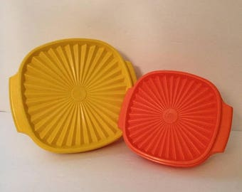 ON SALE Two Vintage Tupperware Servalier Bowls Yellow and Orange With Lids