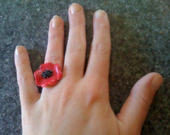 FANCY POPPY POLYMER CLAY RING