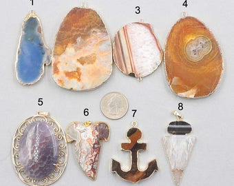 SALE Agate Pendants -- Charms Wholesale Supplies YHA-304