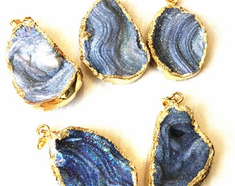 New Beautiful Rainbow Grey Druzy Druzzy Drusy Freeform Single Bail Pendant Electroplated in 24k gold S29B5-85