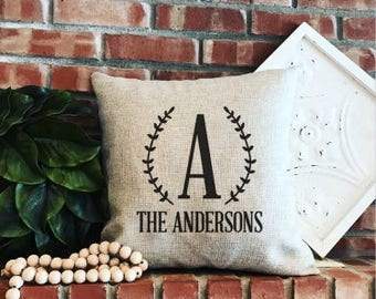 Customized Family Name Pillow Cover - Monogram - Farmhouse Decor - Farmhouse Style - Faux Burlap