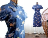 Vintage royal blue short sleeve Chinese cocktail Cheongsam wiggle dress satin brocade mum flower print