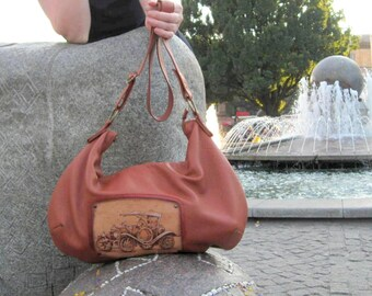 Brown leather hobo bag large purse leather messenger hobo crossbody handbag Women's Leather Bag shoulder bag crossover leather purse for mom