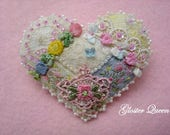 Crazy Quilt Heart pin, very dainty and sweet, with lovely vintage French trims