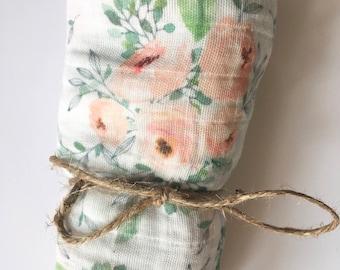 Blush Floral Swaddle, Organic Gauze Baby Blanket, Baby Girl Swaddle, Floral Muslin Baby Blanket