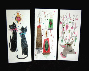 6 Christmas Cards, Vintage Retro Card, Glitter Christmas Card, Jeweled Christmas Card, Vintage Christmas Card, Reindeer Cat Candle Cards