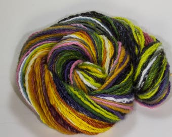 Worsted Handspun Yarn with Long Sections Multicolor Yarn Navajo 3 ply Art Yarn, Knitting, Crochet, Weaving Accent 95 Yards